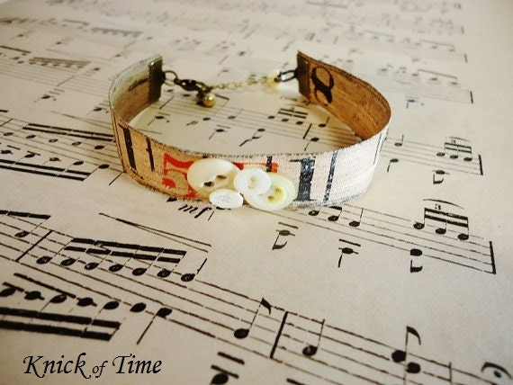 Antique Tape Measure Bracelet with Vintage Buttons - Upcycled Measuring Tape