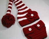 Baby Set - Stocking Hat and Leggings or Diaper Cover (fits 0-3, 3-6 months)