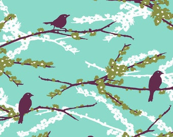 Joel Dewberry - AVIARY 2 - Sparrows in Plum JD41 - Free Spirit Fabric - By the Yard