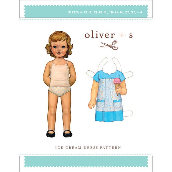 Oliver and S Ice Cream Dress - Girls Dress Sewing Pattern, Sizes 6mo. - 4