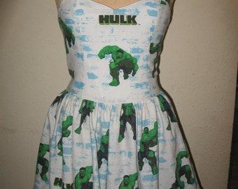 Custom Made to Order Hulk The Mean Green Super Hero Avenger SweetHeart Ruffled Halter Strapless Mini Dress