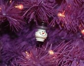 Snowman Head Button Christmas Tree Ornament with Purple Top Hat - Proceeds Benefit Cancer Research