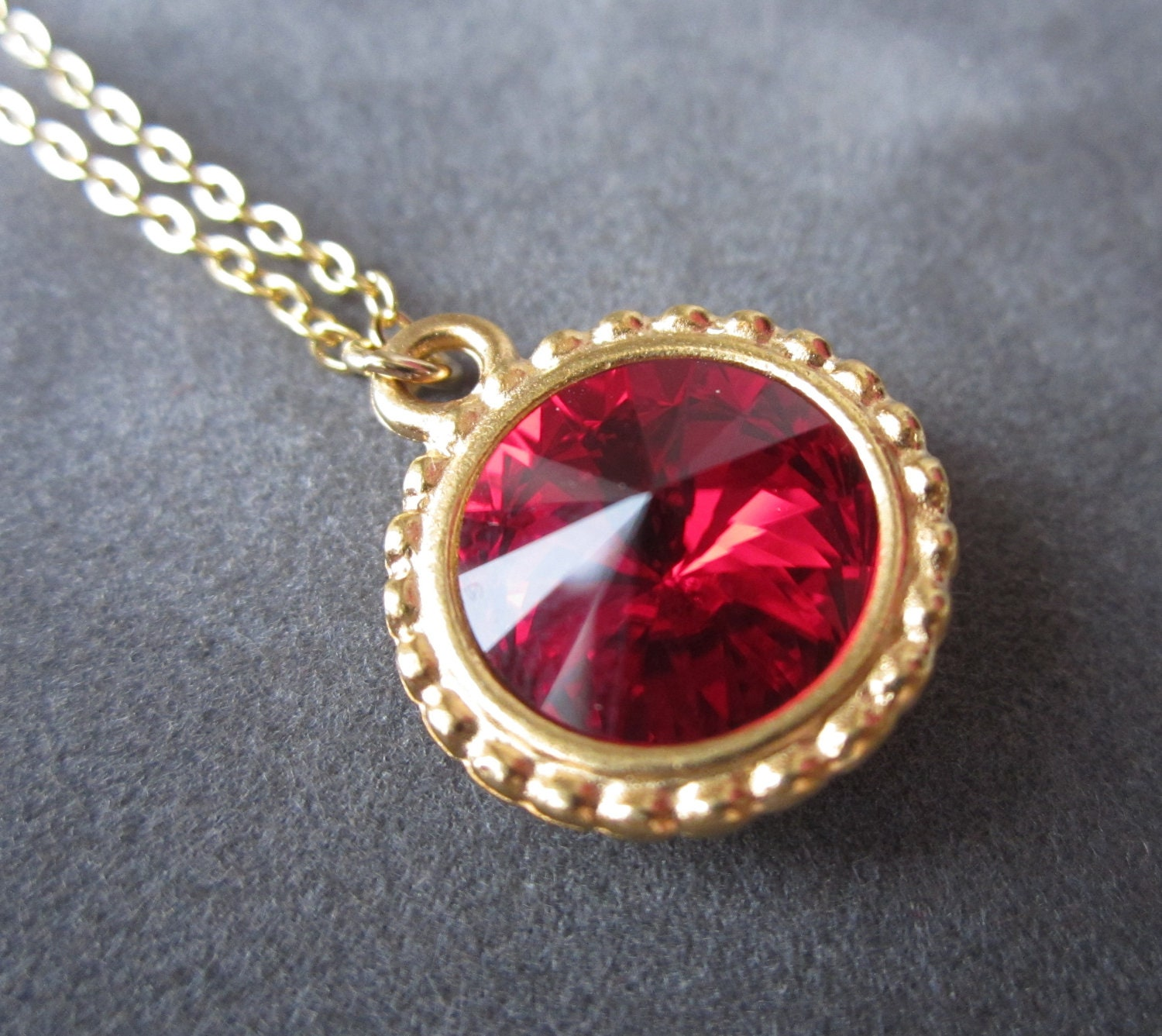 gold july birthstone necklace ruby necklace swarovski. Black Bedroom Furniture Sets. Home Design Ideas