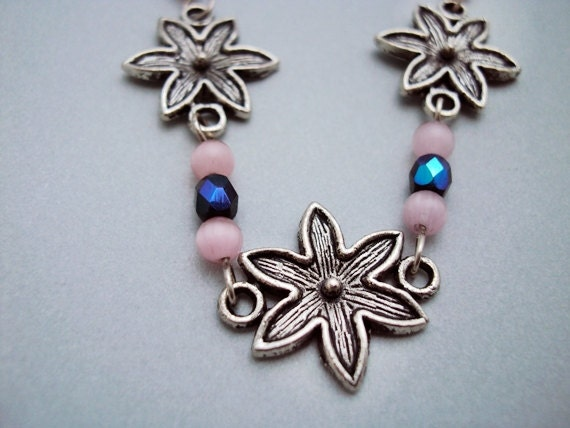 Handmade Spring Necklace - Pink Flower Necklace
