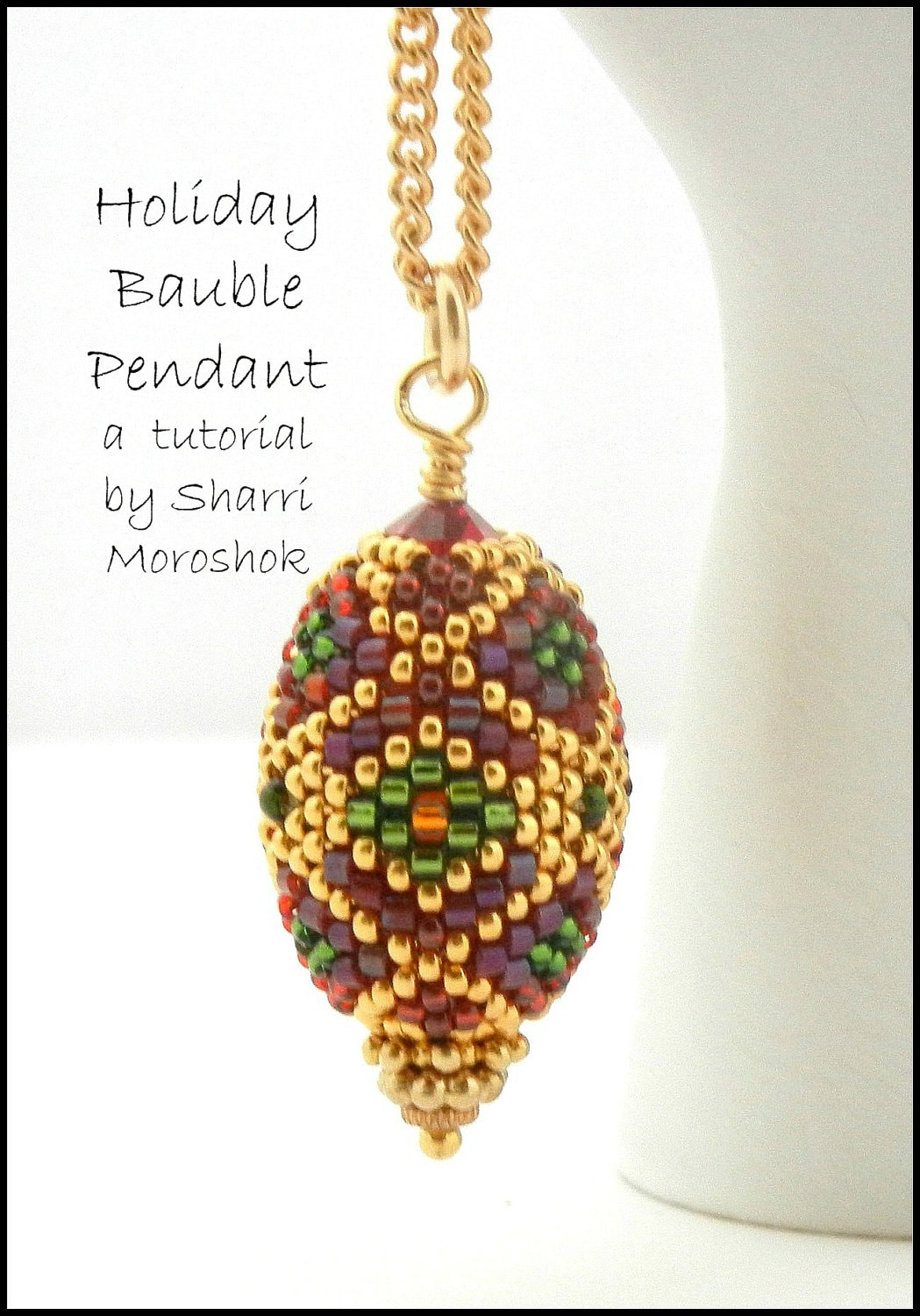 Beading Tutorial - Holiday Bauble Beaded Bead Pendant or Ornament ...