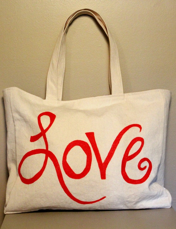 "Large Handpainted Lettering Off White and Orange Graphic ""Love"" Tote Bag Shoulder Bag with Navy Chevron Lining"