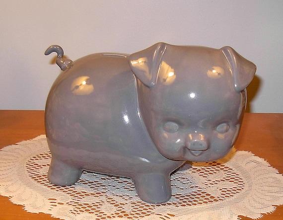Large Ceramic Piggy Bank Vintage Design Large Grey