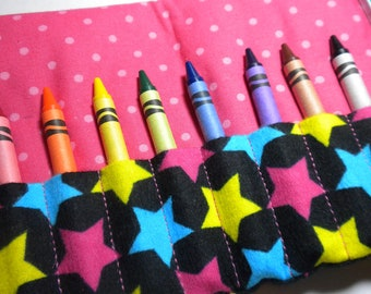 GIRLY STARS - On the Go Crayon Wallet Roll - Wristlet Carry All