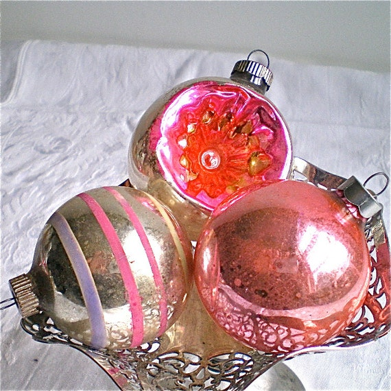 Christmas Decorations, Christmas Ornaments, Mercury Glass, 1950's, Pink, Shiny Brite, Indent,  Set of 3