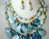 Big Statement Necklace, Big Bold Chunky Necklace, Gemstone Necklace, Bib Necklace, Aqua Layered Necklace, Mother Of Pearl