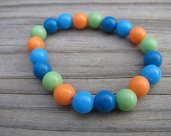 Girls Bracelet- Beaded Children's Jewelry- Orange, Green, Blues
