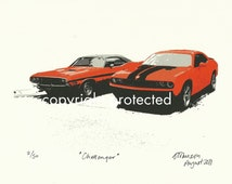 Limited Edition Classic Car Print: DODGE CHALLENGER  man cave art for men, muscle car garage gas monkey car cruise charger corvette chevelle
