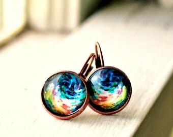 ocean swells copper lever back earrings photo under glass
