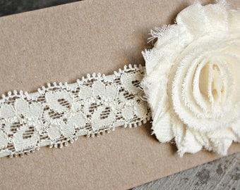 Headband, Baby Headband, Ivory Shabby Flower on Ivory Lace Elastic, made to size