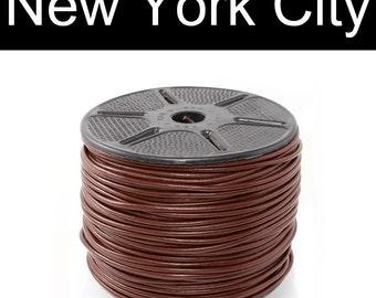 2mm Brown leather Cord Yardage - 2 yards, 5 yards, 10 yards, 25 yards, 55 yards or 110 yards. You Choose Length, CR0200BRN