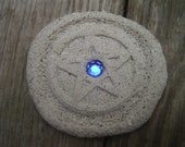 Faux Stone Pentacle with Blue Jewel Center