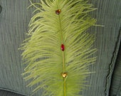 Lime Green Ostrich Feather Plume Pen