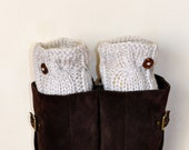 BOOT CUFFS Socks Button Leg Warmers Linen Ivory Vanilla Off White Cozy Earth Neutral Knit Gift under 50