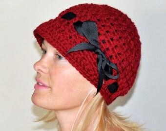 Brim Hat Brim Beanie Newsboy Cap CHOOSE COLOR Cranberry Red Crimson Crochet Winter Women Girly Gift under 50