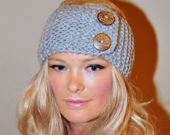 Earwarmer Buttons Head wrap Crochet Headband Ear warmer CHOOSE COLOR Light Gray Grey Warm Hair Band Button Gift under 25