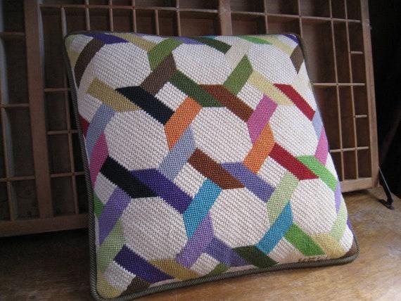 Geometric Pillow Bargello Needlepoint