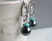 Silver Leaves Hematite and Turquoise Earrings - Choice of Clip on or Earwire