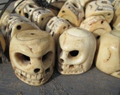 SALE carved bone LARGE Skull Bead--priced EACH Bead--Free Shipping