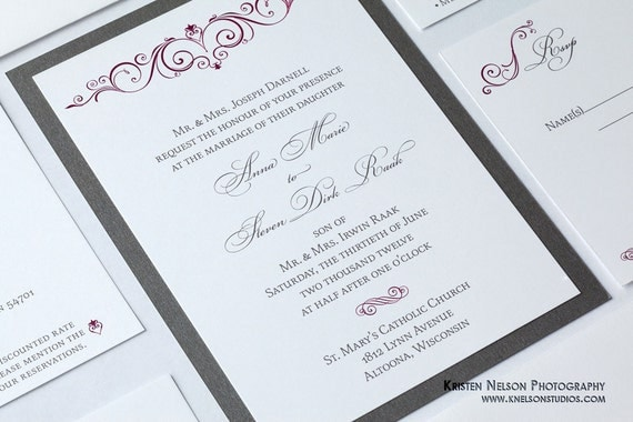 Sangria Wedding Invitations: Shimmer Metallic Or Matte Backing Burgundy By