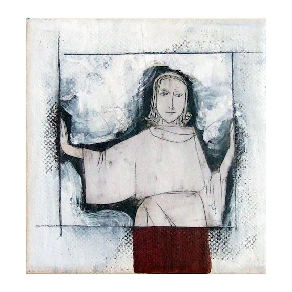 """WINDOW  woman original mixed media small canvas figurative portrait  square 4""""x 4"""""""