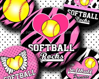INSTANT DOWNLOAD Pink Softball Rocks Yellow Ball (529) 4x6 Bottle Cap Images Digital Collage Sheet for bottlecaps hair bows bottlecap images