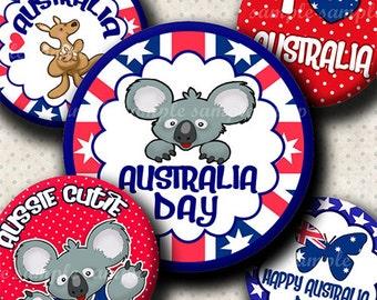 INSTANT DOWNLOAD Happy Australia Day (558) 4x6 Bottle Cap Images Digital Collage Sheet for bottlecaps hair bows magnets .. bottlecap images