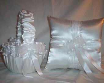 White Satin With White Ribbon Trim Flower Girl Basket And Ring Bearer Pillow Set 3