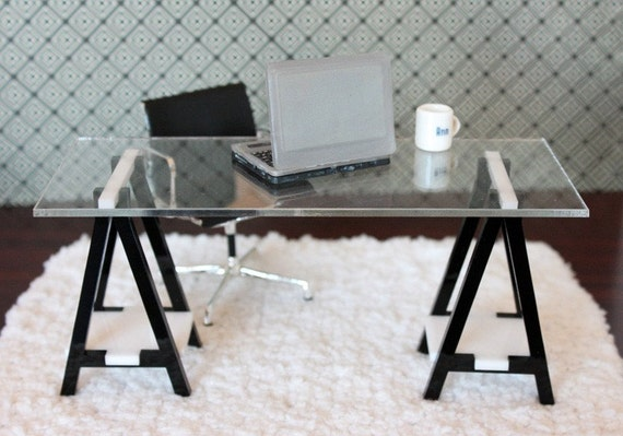 Miniature IKEA Inspired VIKA Desk for 1:12 Scale Modern Dollhouse in Black & White Acrylic