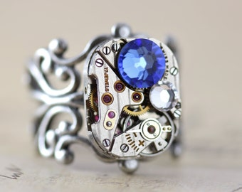 Mothers Ring Watch Ring Birthstone Ring Steampunk Ring Custom Personalized Grandmothers Ring Inspired by Elizabeth
