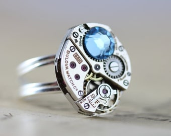 Unique Mothers Day Gift Sterling Silver Mothers Ring Custom Birthstone Ring Steampunk Ring Sterling Silver Personalized Grandmothers Ring