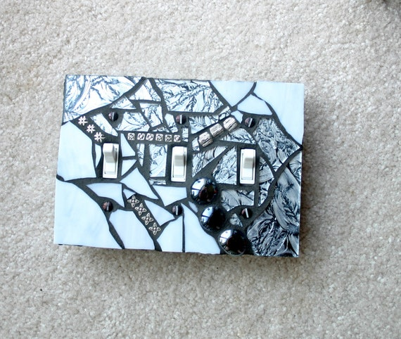 Silver and Shiny - TRIPLE Mosaic Light Switch Cover Wall Plate
