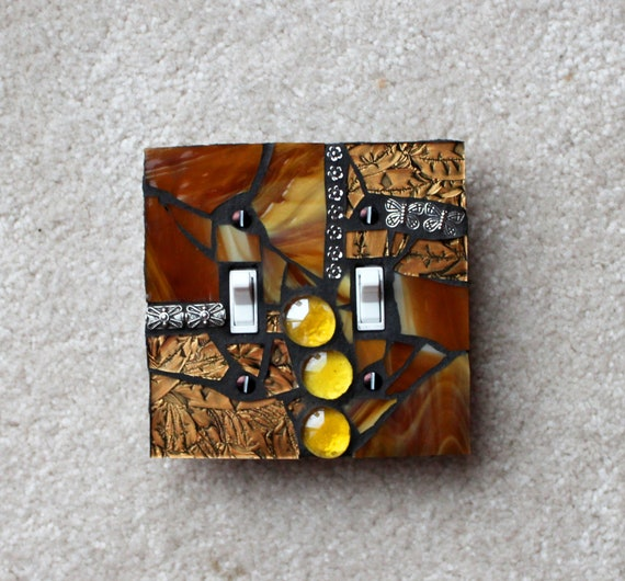 Golden Glamour  -  Handmade Double Mosaic Light Switch Cover Wall Plate