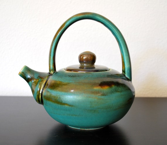 Handmade Turquoise Brown Teapot with Long Handle