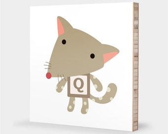 Q is for Quoll : ABC Block Bamboo Wall Art Series // Alphabet Kids Wall Art Nursery Room Decor Animal Art Baby