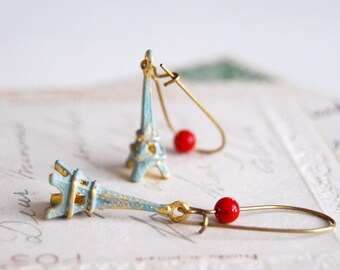 Eiffel Tower Earrings, Blue Verdigris Patina Eiffel Tower with Red Jasper Bead Earrings
