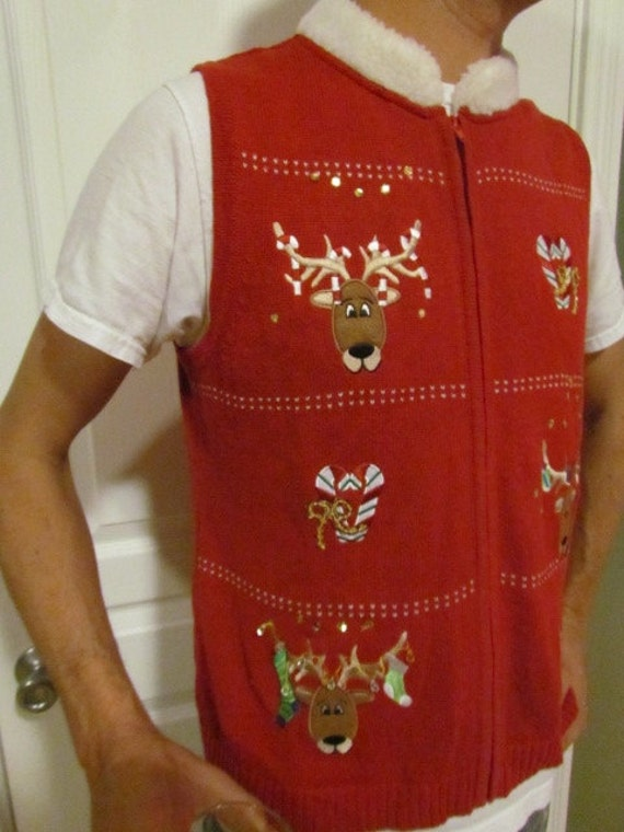 Ugly Christmas Sweater Vest, SIZE XL