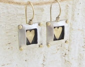 Square Silver Earrings with Gold Heart