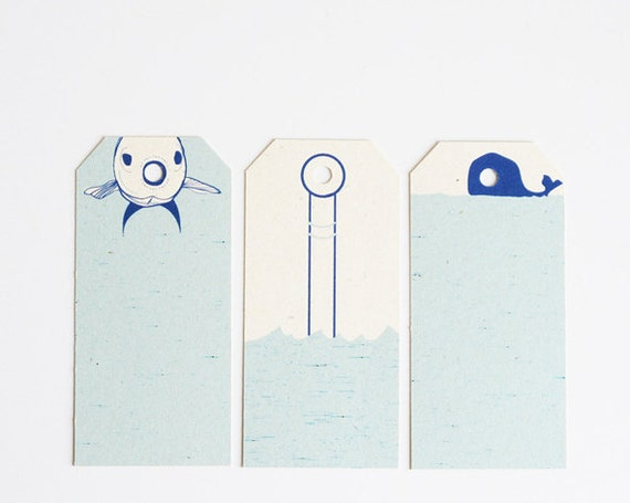 Summer gift tags - fish - submarine - whale - set of 6