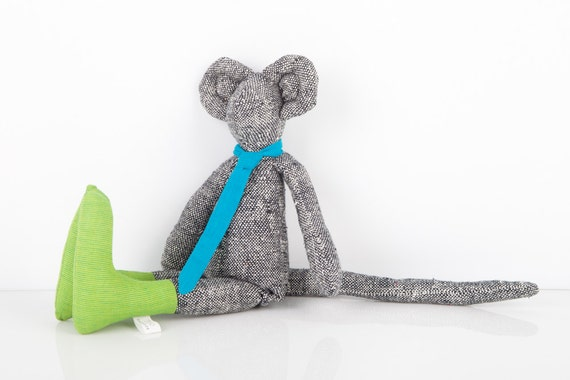 Plush ooak City mouse in black and white woven pure silk wears green socks and Neon Turquoise tie  handmade fabric doll