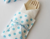 10 Wood Wooden Cutlery Bags w/ Silverware Utensils Table Setting Wedding Kids Birthday Party Baby Shower Favors Paper Goods Aqua Polka Dots