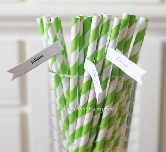 50 Lime Green Paper Straws  Striped Retro Vintage Style Carnival Circus Wedding Birthday Bridal Baby Shower W/ Printable Flags I Created