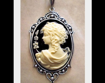 Edwardian Goddess Cameo Necklace - Victorian Ivory Lady
