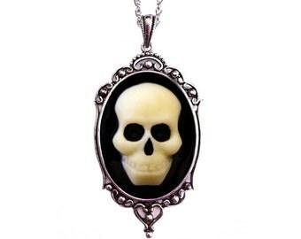 Halloween Jewelry - Skull Cameo Necklace - Petite Jewelry - Halloween Wedding