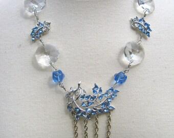 SALE - Vintage Blue Rhinestone Statement Necklace, Wedding, Jennifer Jones, Silver, Crystals, OOAK, Assemblage- Forget Me Not