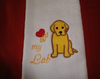 Labrador Applique Hand Towel